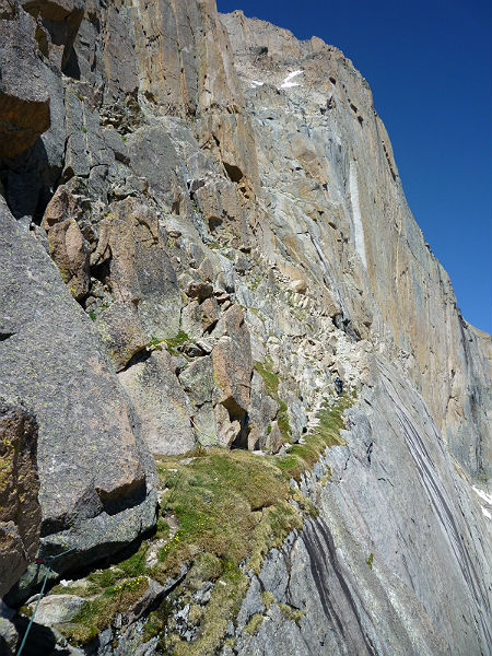 Broadway ledge and the upper parts of Kiener's route.